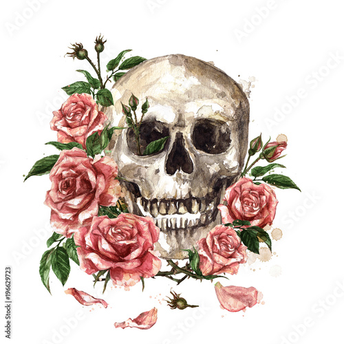 Poster Watercolor Illustrations Human Skull surrounded by Flowers. Watercolor Illustration.