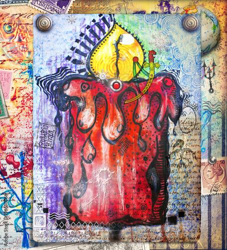 Candela mistica e psichedelica con manoscritti e disegni esoterici e misteriosi