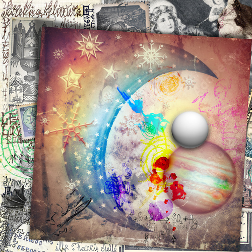 Deurstickers Imagination Luna delle fiabe con stelle,fiocchi di neve,pianeti e vecchi,misteriosi manoscritti