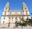 Jaen Assumption cathedral main frontal facade, Spain