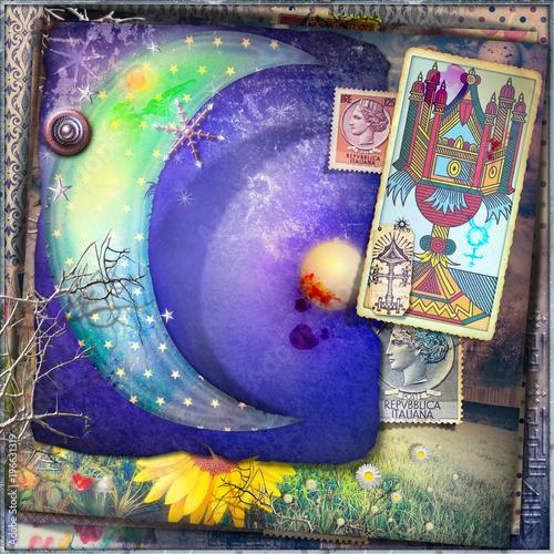 Poster de jardin Imagination Luna stellate delle fiabe con asso di coppe dei tarocchi