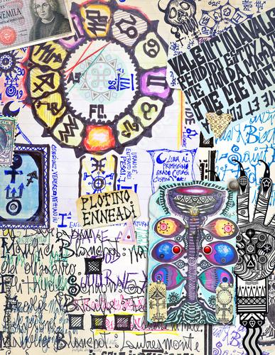 Sfondo con oroscopi,manoscritti esoterici,alchemici e astrologici