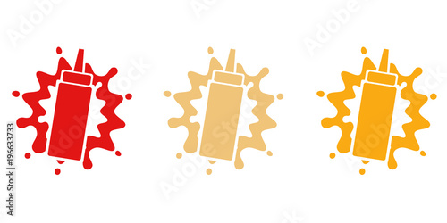 Fototapeta Fast food sauces set, ketchup, mayonnaise and mustard bottles. obraz