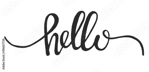 Fotografia, Obraz Hand drawn word hello vector icon