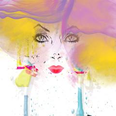 Fototapeta Do pokoju volto di donna colorato e dipinto
