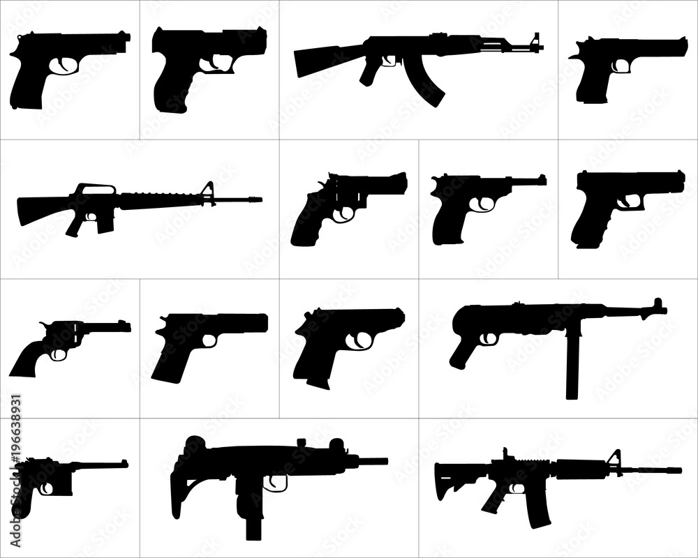 Fototapeta Large and detailed icon set of different weapons