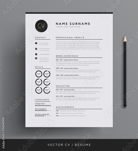Fotografie, Obraz  Elegant CV / resume template minimalist black and white vector