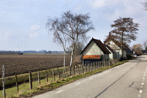 Fotomural Country road and a plowed field in Dutch polder landscape