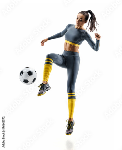 Football soccer player in action. Photo of sporty woman in sportswear isolated white background. Dynamic movement.