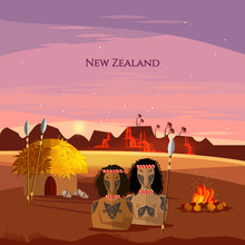 New Zealand. Village Of Aboriginals Maori Of New Zealand. People Of Maori, Tradition And Culture. Mountains And Beach Landscape, Natives