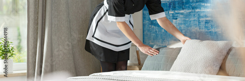 Panorama of chambermaid in bedroom