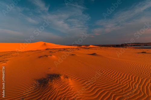 Poster de jardin Desert de sable Global warming concept. Stunning view of lonely sand dunes under amazing evening sunset sky at drought desert landscape