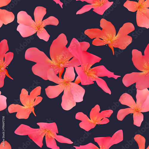 Tuinposter Vlinders Seamless pattern with isolated tropical red flowers Beautiful bl