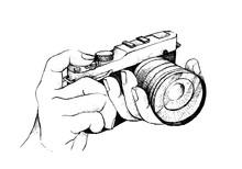 Hand Drawn Of Photographer Holding Camera On White Background