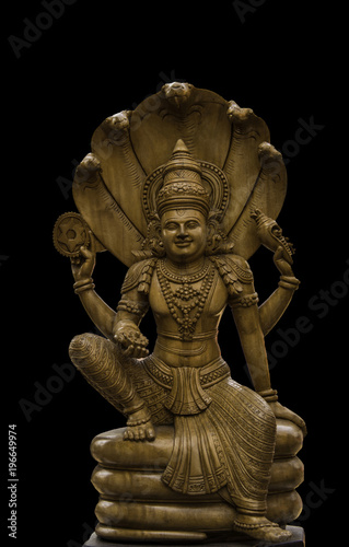 Vishnu Idol in Wooden carving