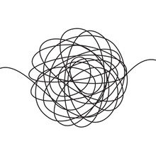 Hand Drawn Scrawl Sketch Or Black Line Spherical Abstract Scribble Shape. Vector Chaotic Doodle Circle Drawing Circles Or Thread Clew Isolated On White Background