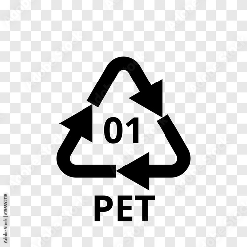 PET recycling code arrow icon for plastic polyester fiber and soft drink bottles Tapéta, Fotótapéta