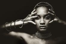 Beautiful Woman Wearing Chain Jewellery In Black And White Photo