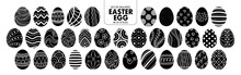 Set Of Isolated Silhouette Easter Eggs In 35 Styles.