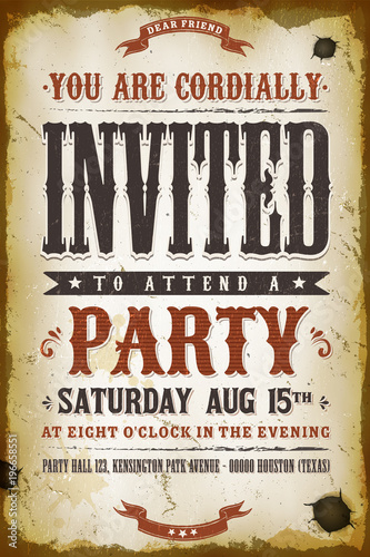 Vintage Party Invitation Background Canvas Print