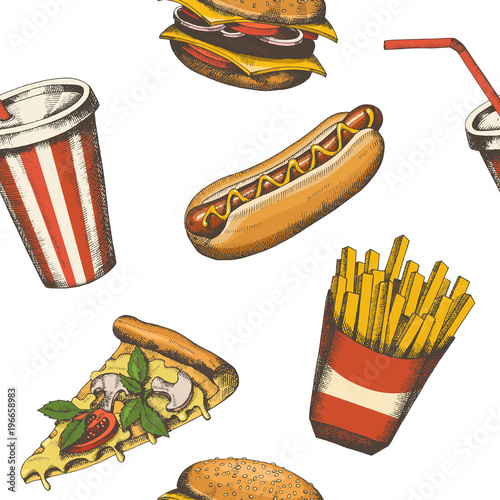 Vector Vintage Hand Drawn Fast Food Seamless Pattern