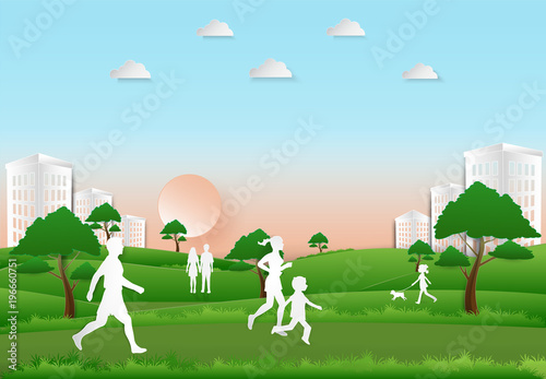 Staande foto Groene People recreation and exercise in the park on sunset background, Paper art, paper cut illustration