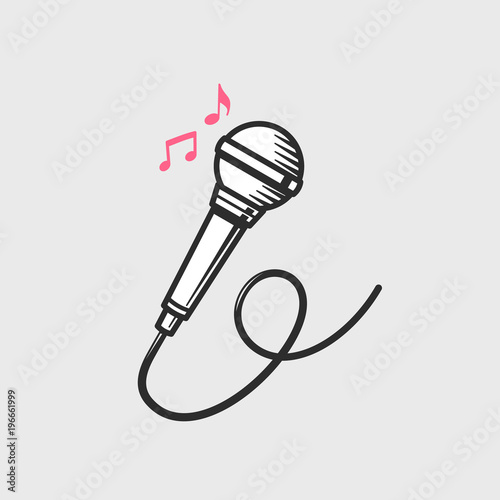 Microphone Icon With Music Notes Vector Illustratio Buy This Stock