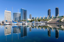 San Diego Marina - A Panoramic Morning View Of San Diego Marina, Surrounded By Modern High-rising Buildings, At Side Of San Diego Bay In Marina District At Southwest Of Downtown San Diego, California,