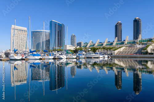 Fotografia, Obraz  San Diego Marina - A panoramic morning view of San Diego Marina, surrounded by m