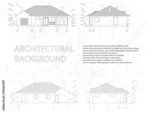 Architectural Modern Background Detailed Floor Plans Vector