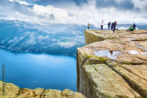 Foto auf Leinwand Nordeuropa Norway, Scandinavia, Europe. Spectacular view on Lysefjord and Norwegian iconic landmark Preikestolen pulpit rock. Traditional northern Norwegian nature landscape. Travel to Scandinavia background.