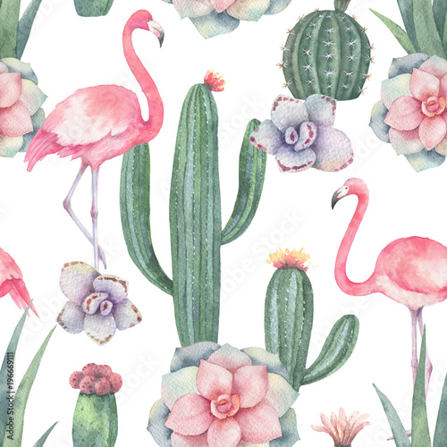 Photo Watercolor seamless pattern of pink flamingo, cacti and succulent plants isolated on white background