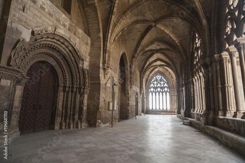 Old Cathedral,interior cloister, Catedral de Santa Maria de la Seu Vella, gothic style, iconic monument in the city of Lleida, Catalonia.Spain.