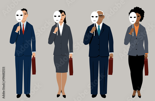 Diverse job candidates hiding behind masks as a metaphor for eliminating bias in Canvas Print