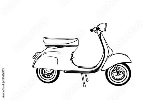 sketch moped vector Fototapeta