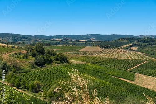 Foto op Aluminium Blauw The Landscape in Tuscany is just beautiful with all those Vineyards where good Vines were born and the small Villages.