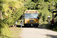 Costa Rica Bus With Student Enter On It