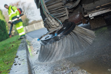 Closeup Of Road Sweeper Brush