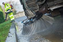 Closeup Of Road Sweeper Brush
