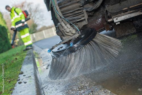 Obraz na plátně Closeup of road sweeper brush