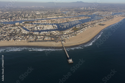 Photo Newport Beach California Pier and Harbor Aerial