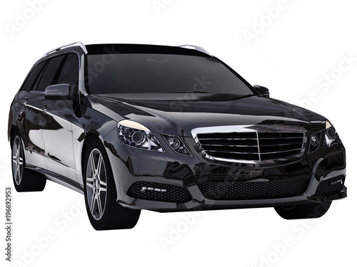 Stampa su Tela  Large black family business car with a sporty and at the same time comfortable handling