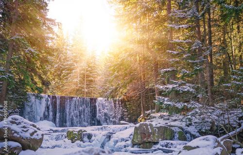 Fototapeta Sunshine over Wild waterfall in Karpacz obraz