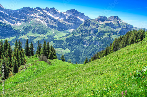 Foto op Aluminium Alpen Swiss alps in the summer season. Panorama of the picturesque mountain, alpine landscape. Resort Engelberg, Switzerland