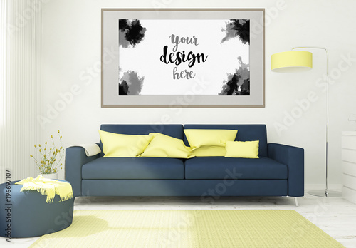 framed canvas mockup in 3d living room rendering buy this stock