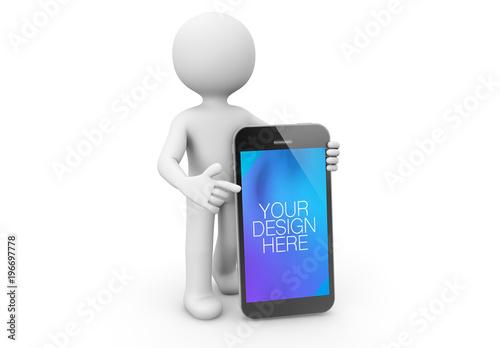 3d character pointing at smartphone mockup buy this stock template 3d character pointing at smartphone mockup maxwellsz