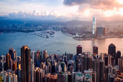 Photo sur Toile Hong-Kong Hong Kong Sunrise, View from The peak, Hong Kong