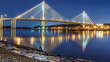 canvas print picture - Port Mann Bridge, long exposure in a bright night. Vancouver, British Columbia, Canada.