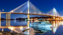 Port Mann Bridge, Long Exposure In A Bright Night. Vancouver, British Columbia, Canada.