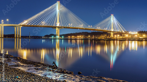 Port Mann Bridge, long exposure in a bright night. Vancouver, British Columbia, Canada. - 196706358